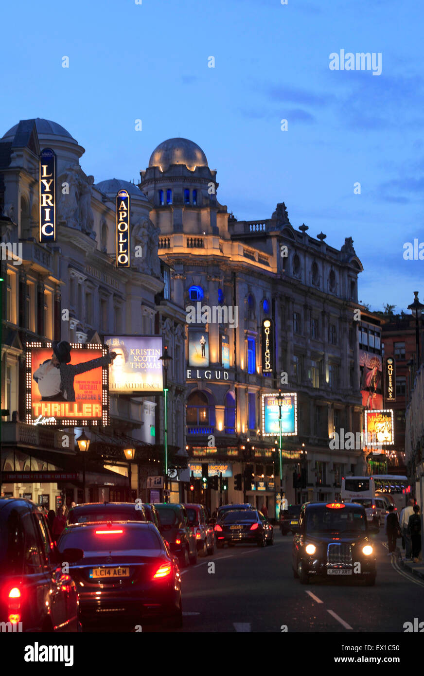 .Shaftesbury Avenue Theatres in Londons West End. - Stock Image
