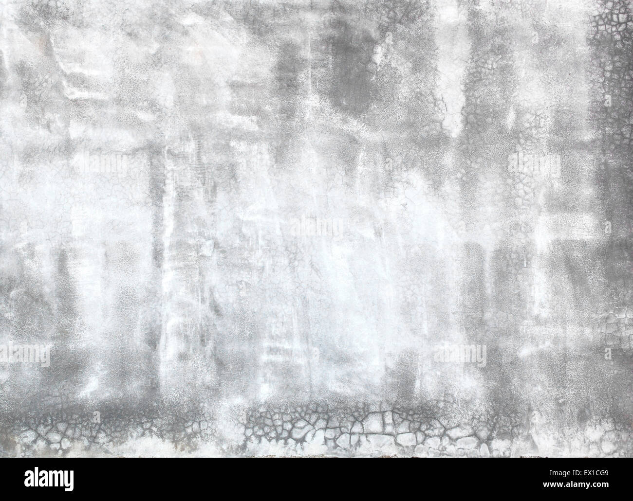 Polished plaster wall cracks construction industry background texture. Stock Photo