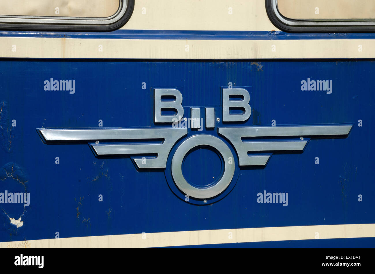 das heizhaus austrian national railway museum train nameplates builder's plates crests number plates - Stock Image