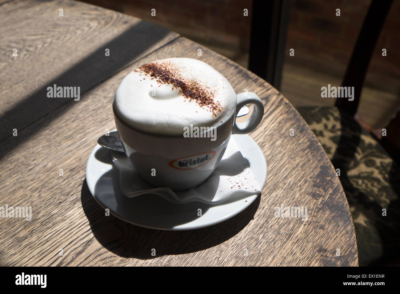 Ebley near Stroud Gloucestershire England UK A cappuccino coffee at Kitsch Cafe - Stock Image