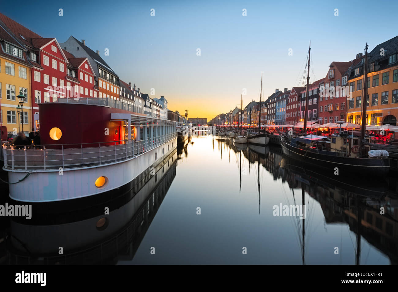 Ships In Nyhavn At Sunset Copenhagen Denmark