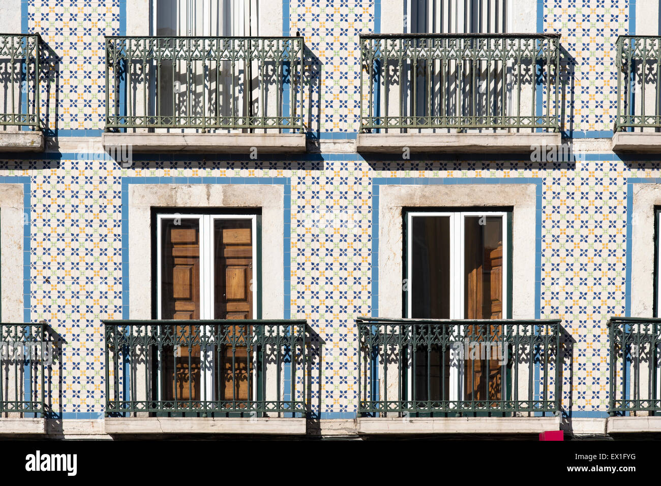 Building Facade With Ceramic Tiles Typical Of Lisbon