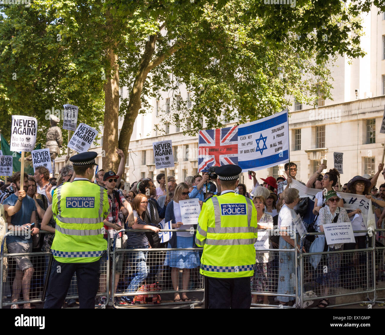 "London, 04th July 2015. Protesters from Neo-Nazi groups turn out during an anti semetic demonstration dubbed ""Campaign Stock Photo"