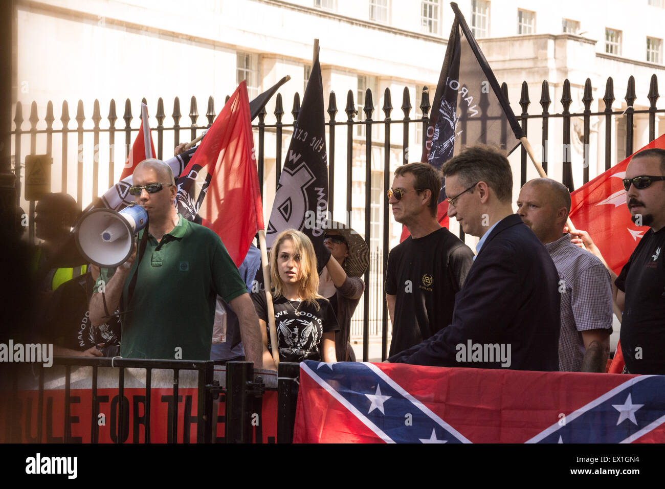 """London, 04th July 2015. Protesters from Neo-Nazi groups turn out during an anti semetic demonstration dubbed """"Campaign Stock Photo"""