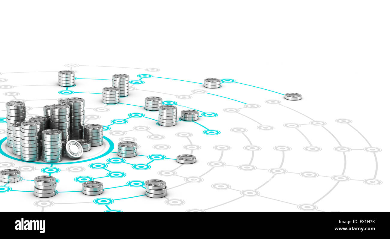 Many symbolic coins on a collaborative network. Conceptual 3D image for illustration of crowdfunding. - Stock Image