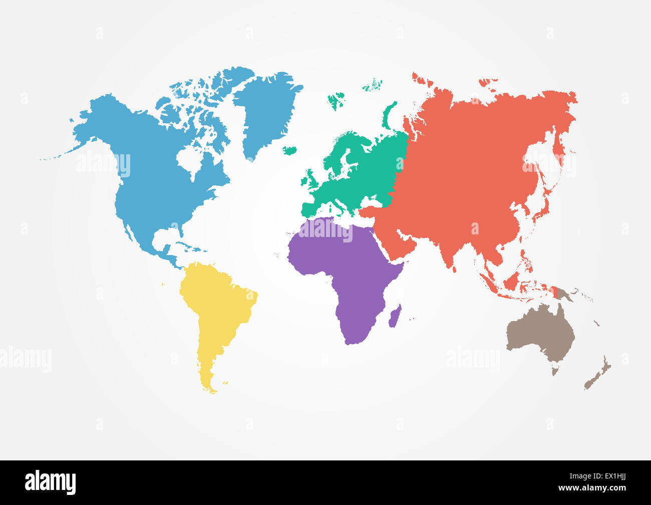 Amazing Vector World Map With Continent In Different Color ( Flat Design )   Stock  Image