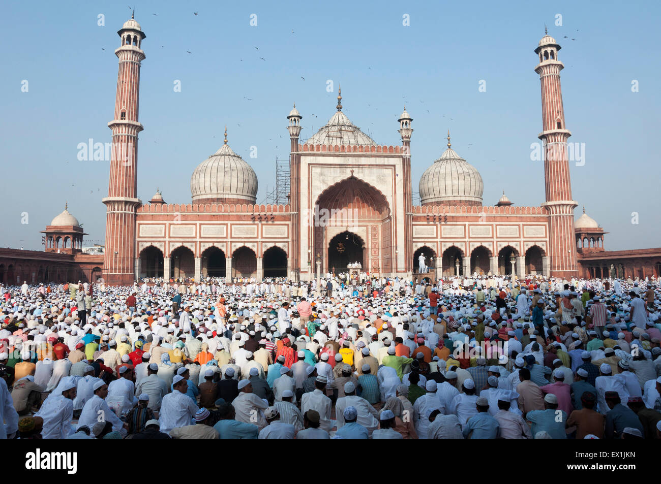 Festival of Eid-ul-fitr being celebrated at the Jama Masjid mosque in old Delhi, India. - Stock Image