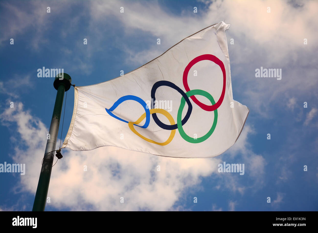 Olympic flag in the wind - Stock Image
