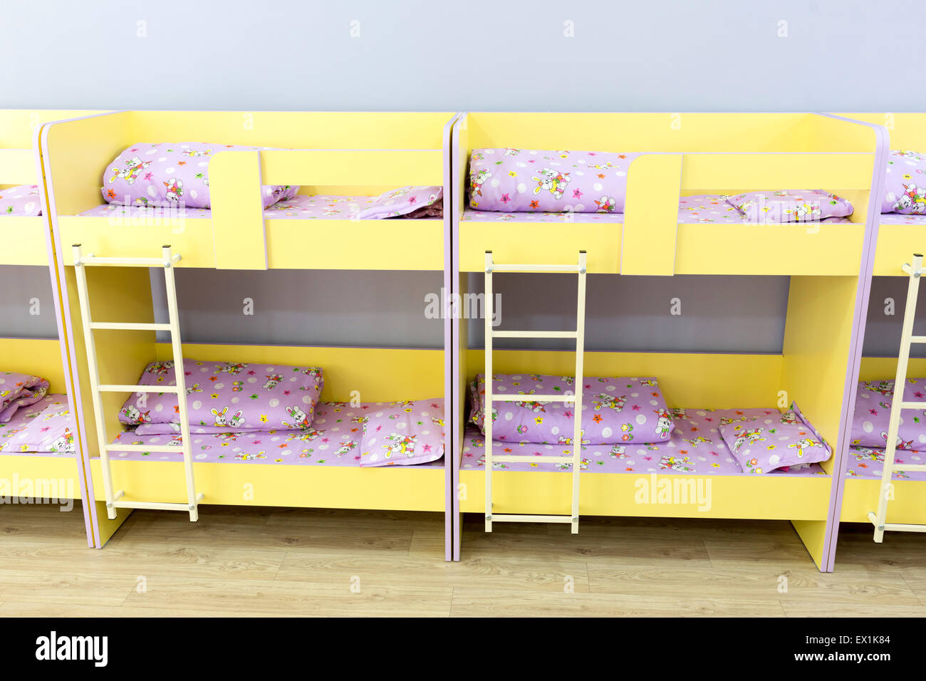 modern kindergarten bedroom with small bunk beds with stairs for the rh alamy com