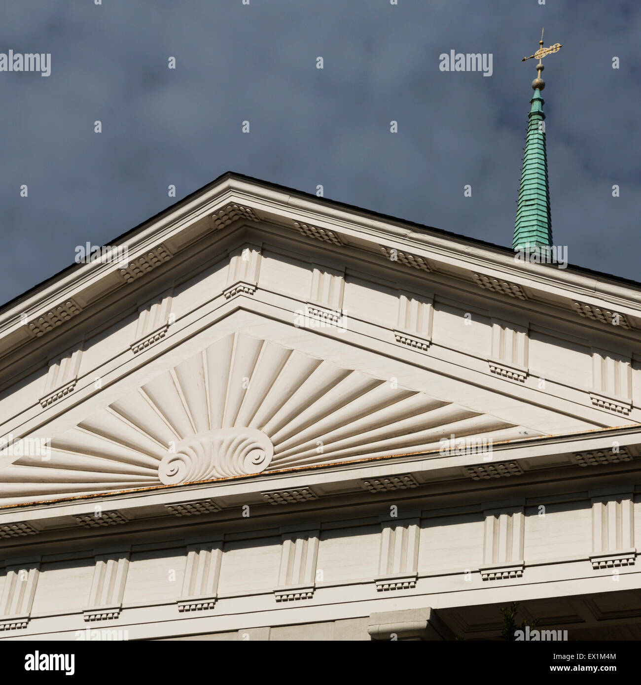 Pediment of Independent Presbyterian Church, Bull St, Savannah, Georgia, USA - Stock Image