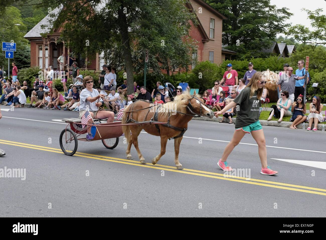 Small horse in Old Fashion 4th of July Celebration and Parade in Stowe, Vermont - Stock Image