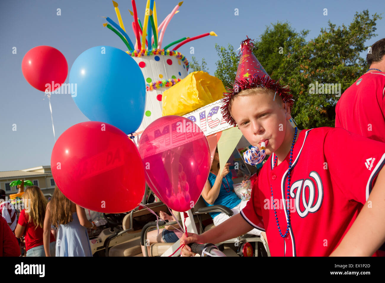 South Carolina, USA. 4th July, 2015. A young boy dressed for a birthday party as America celebrates Independence - Stock Image
