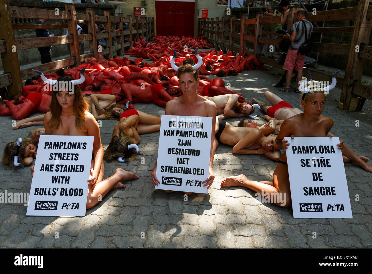 Activist PETA and AnimaNaturalis protest in Pamplona. 4th of July. 2015. Before San Fermin festival. Spain. Europe Stock Photo