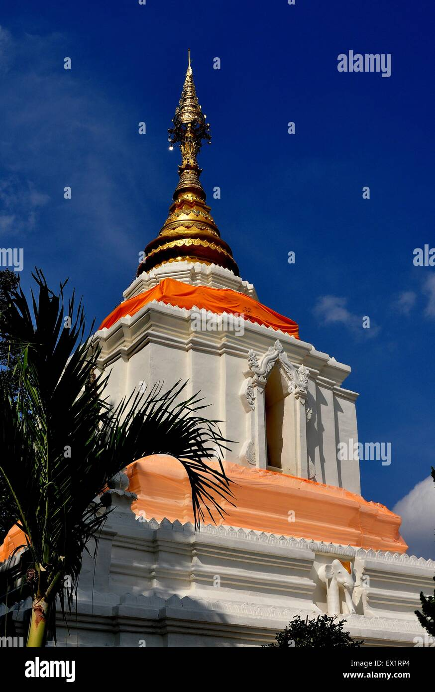 Chiang Mai, Thailand: The immense Wat Changkam white chedi capped with a golden spire at Wiang Kum Kam Ancie - Stock Image
