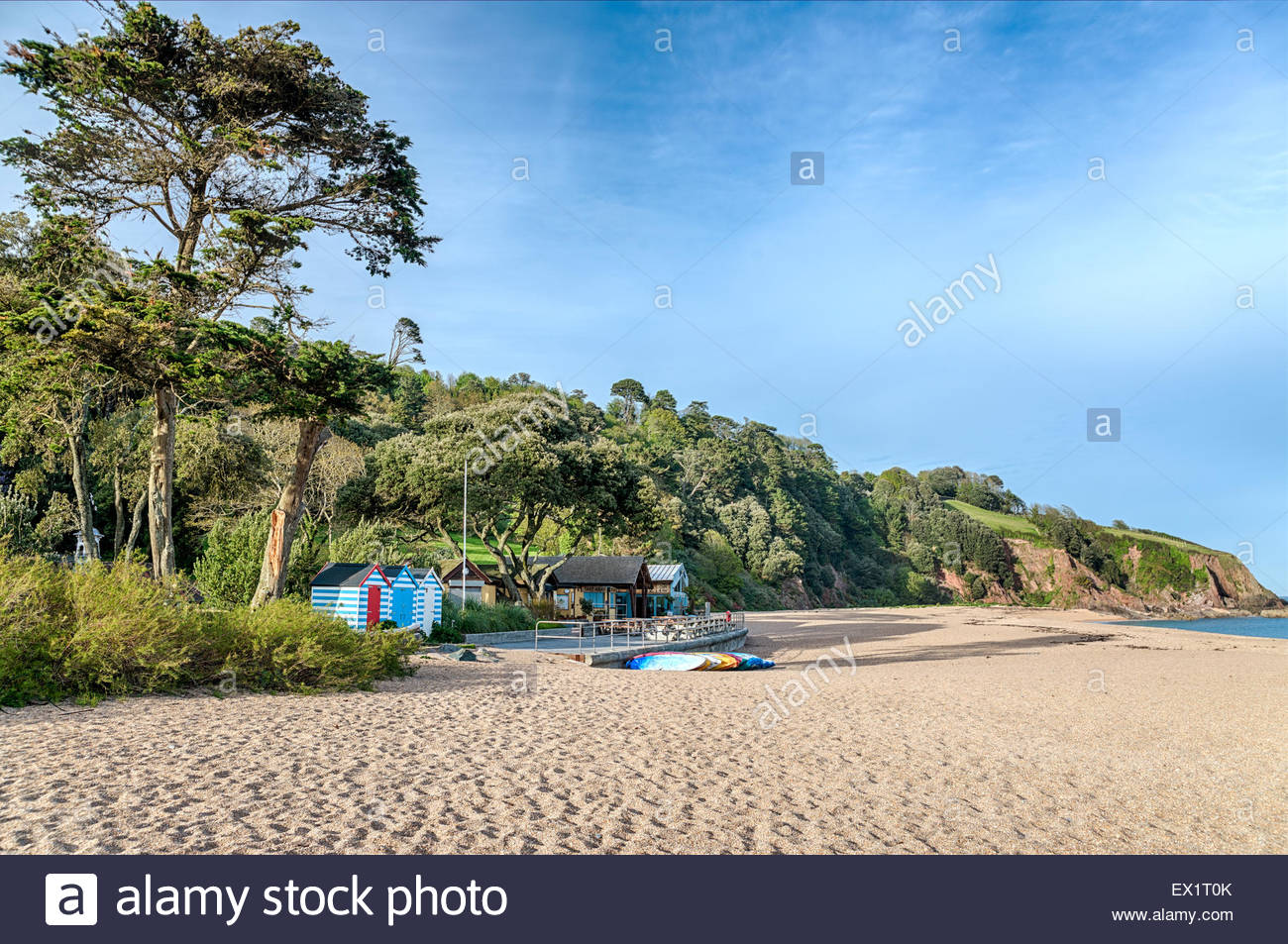 View over the Blackpool Sands Beach near Dartmouth, Devon, England | Aussicht ueber Strand von Blackpool Sands in - Stock Image