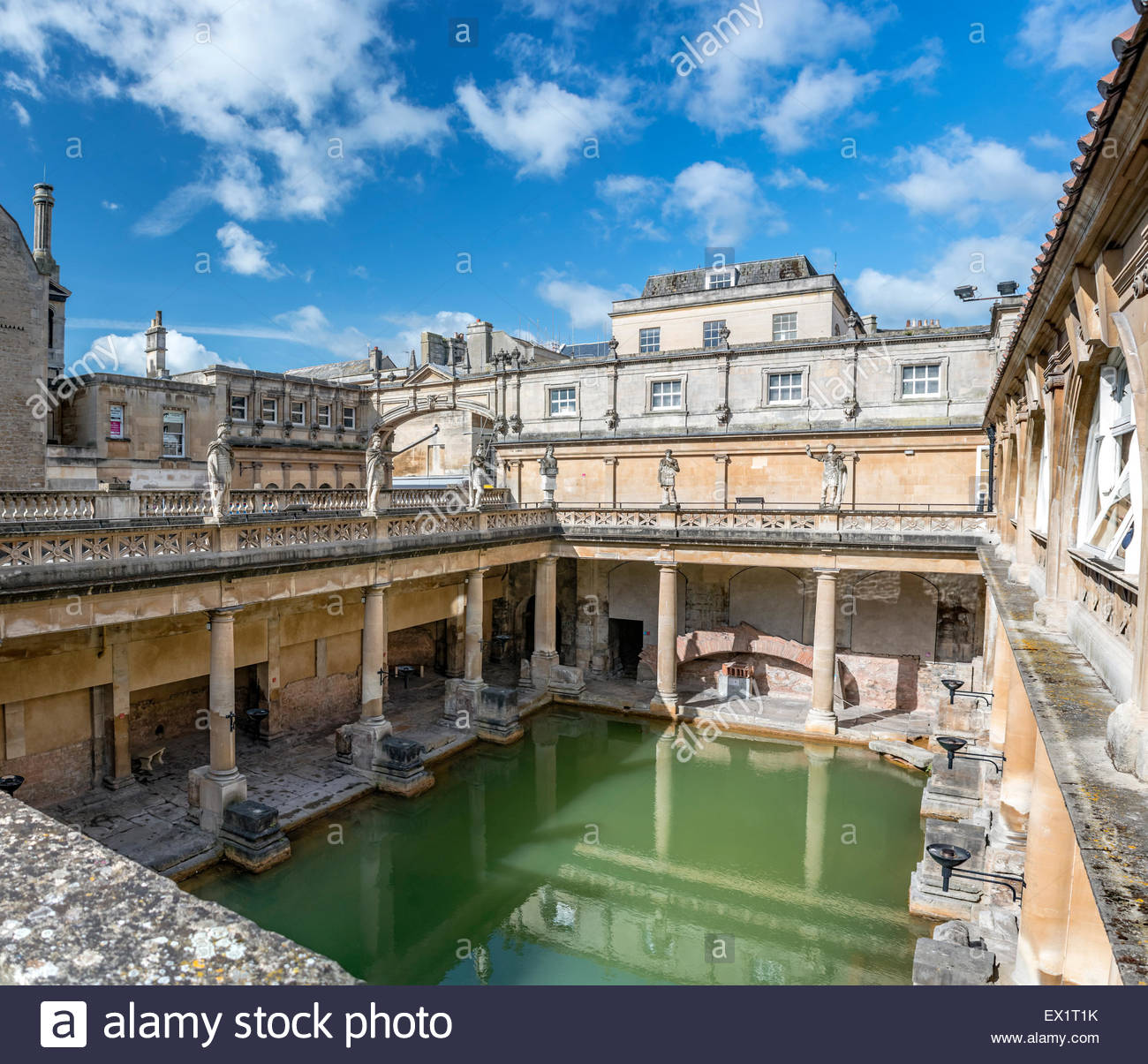 The Roman Baths complex, a site of historical interest in the English city of Bath, Somerset, England. - Stock Image