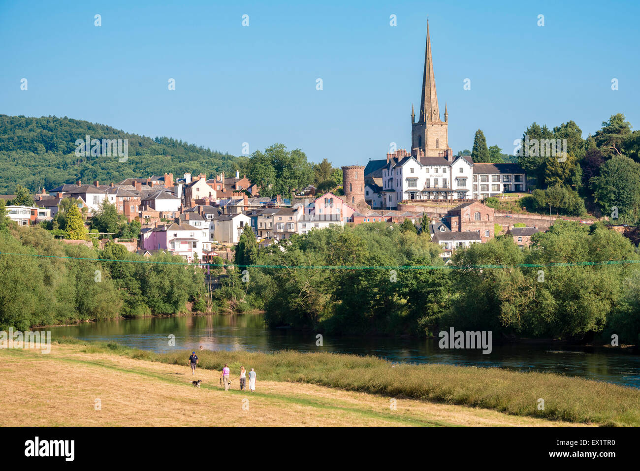 Ross on Wye town, Herefordshire, UK. People walking along the River Wye. - Stock Image