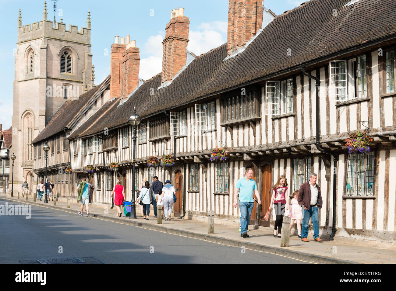 Old buildings in Church Street, Stratford upon Avon, UK. - Stock Image