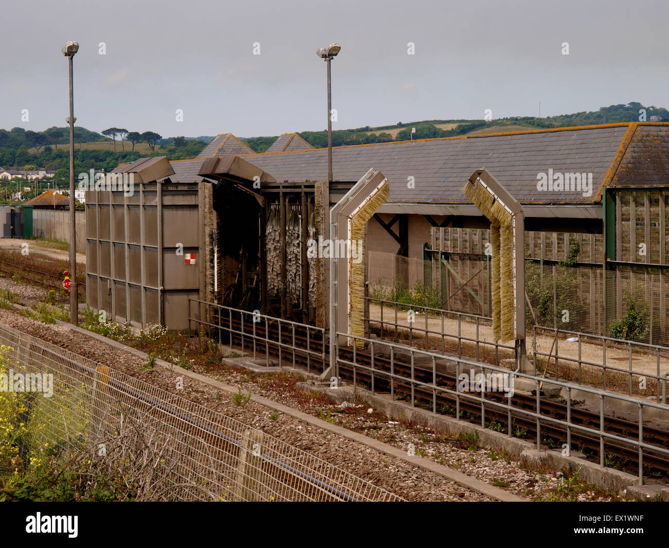 Small train carriage washer at Penzance TMD, also known as Long Rock TMD, (Traction Maintenance Depot) Cornwall, - Stock Image