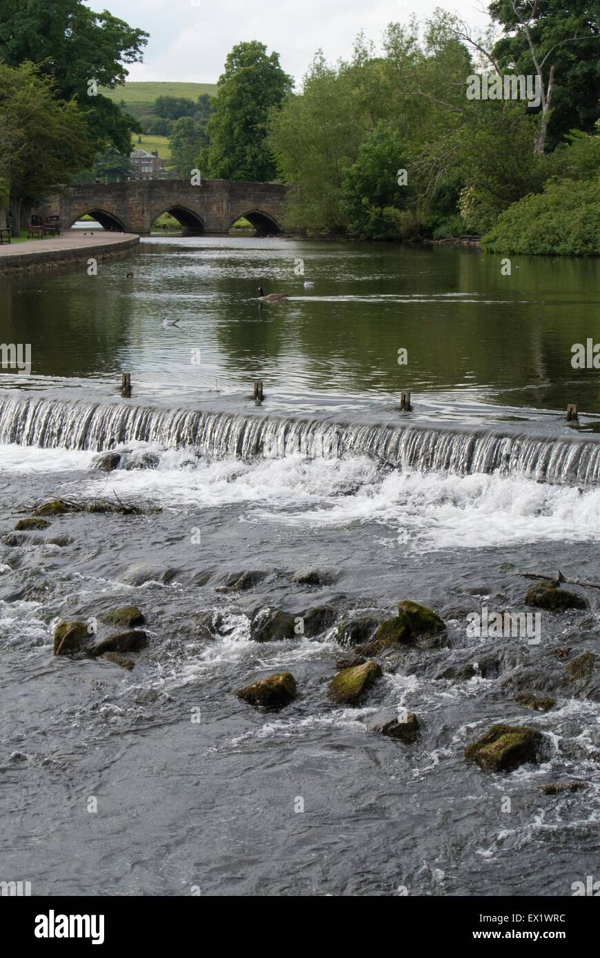 River weir on the River Wye Bakewell - Stock Image