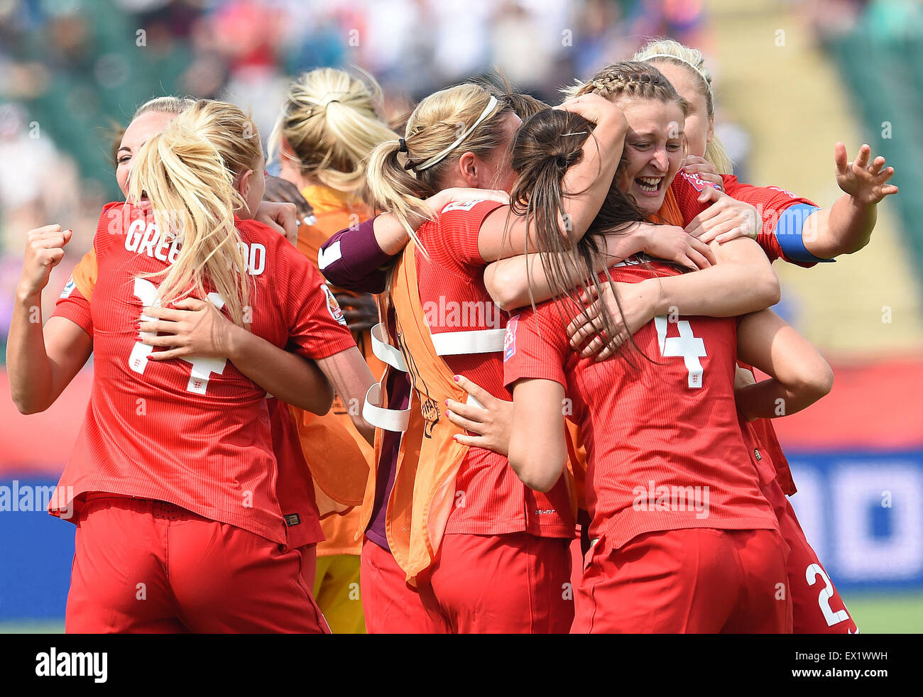 Edmonton, Canada. 4th July, 2015. England celebrates their victory over Germany at the end of the second extra time - Stock Image