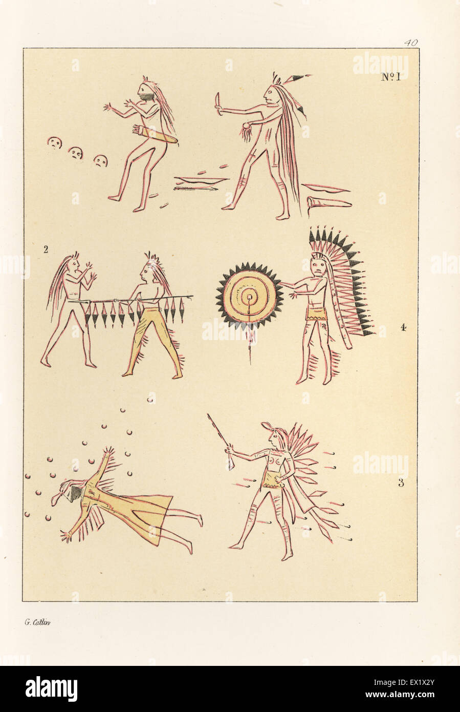 Battle scenes of the decorated robe of Mandan second chief Mah-to-toh-pa, Four Bears. Killing a Sioux warrior with - Stock Image