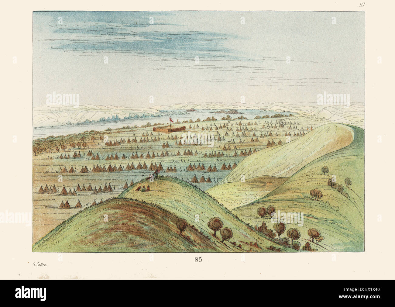 Sioux encampment of 600 tents and lodges around Fort Pierre, of the American Fur Company, Missouri. Handcoloured - Stock Image