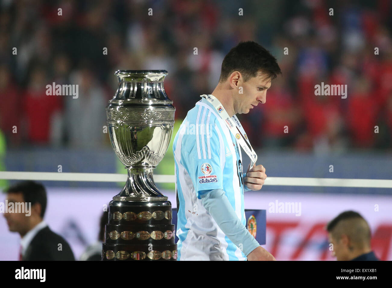 Argentinas Lionel Messi Walks Past The Trophy