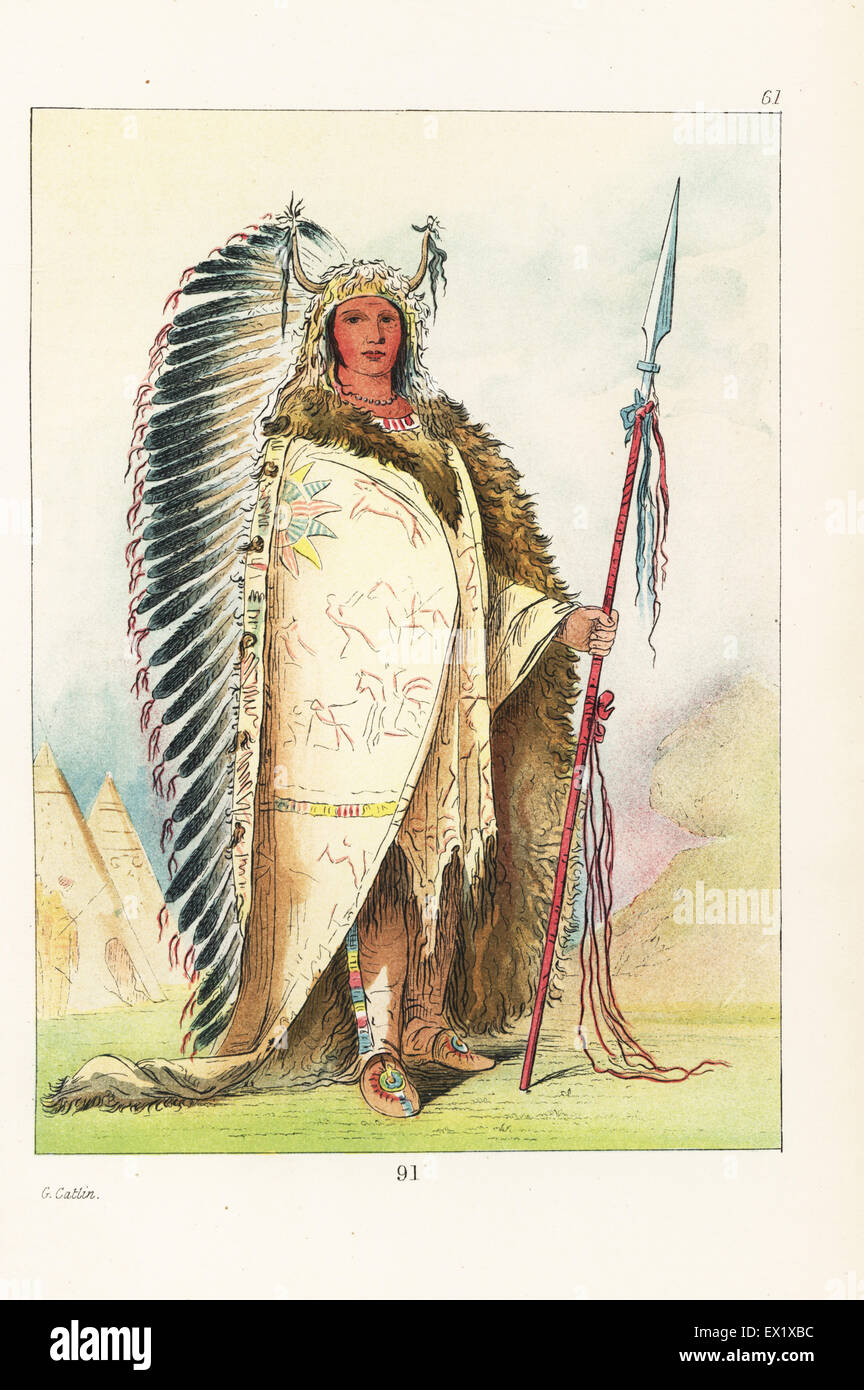 Sioux chief Ee-ah-sa-pa, Black Rock of the Nee-caw-wee-gee band, in eagle headdress with horns, painted robe, moccasins - Stock Image
