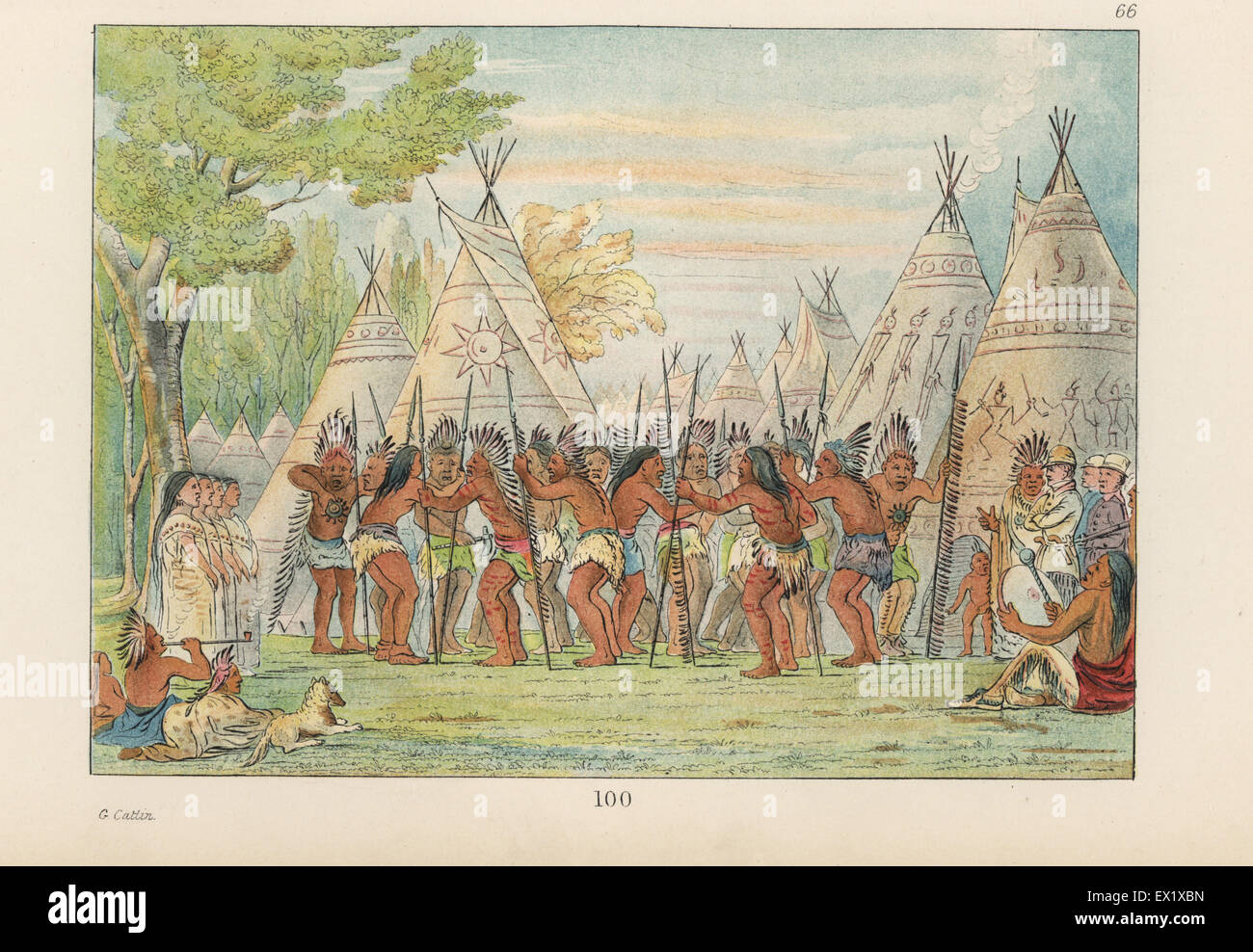 Sioux chiefs and medicine men dancing for George Catlin to a chorus of women singers and drummers. In the background, - Stock Image