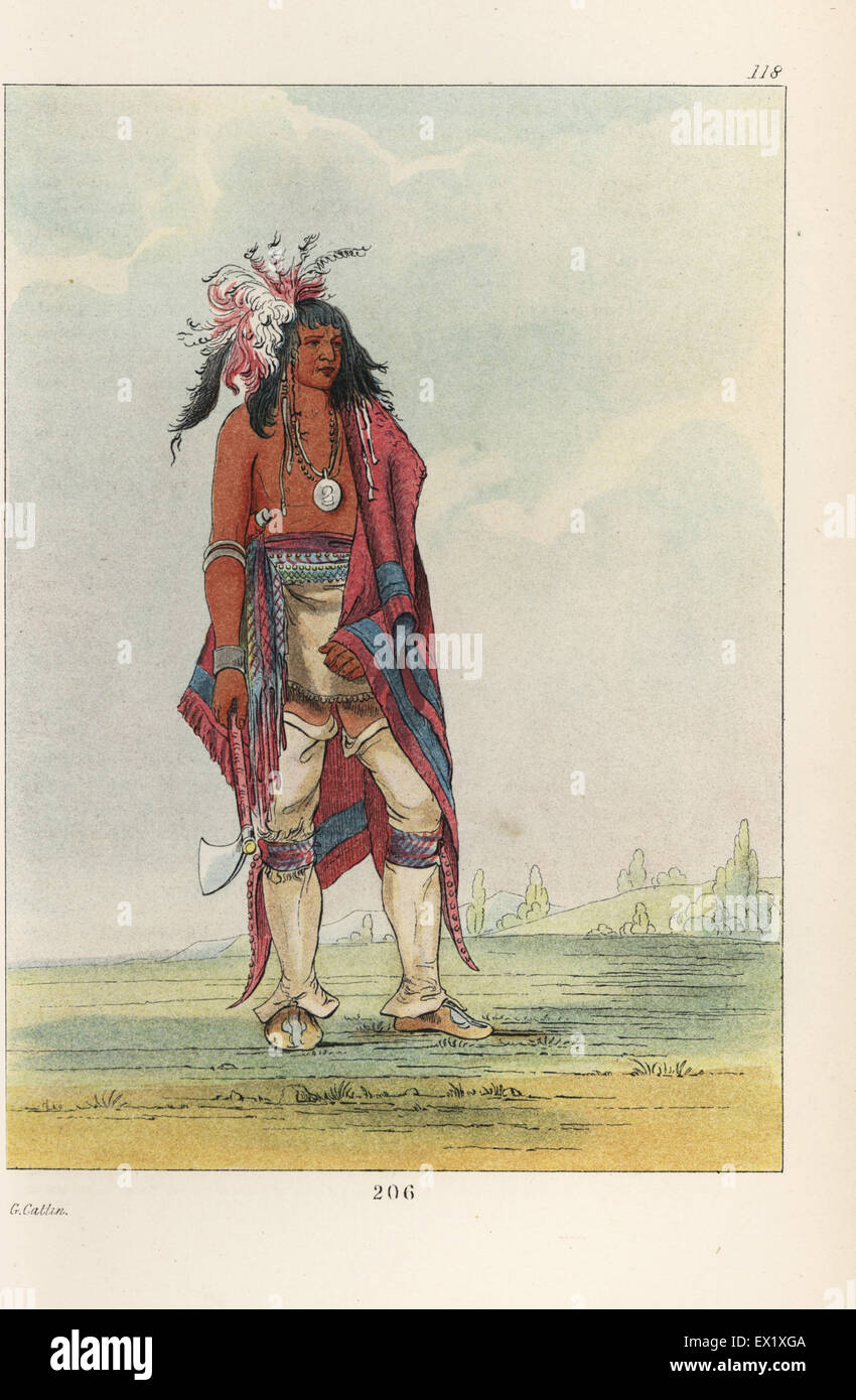 Iroquois warrior Not-o-way, the Thinker, with blanket and tomahawk. Handcoloured lithograph from George Catlin's - Stock Image