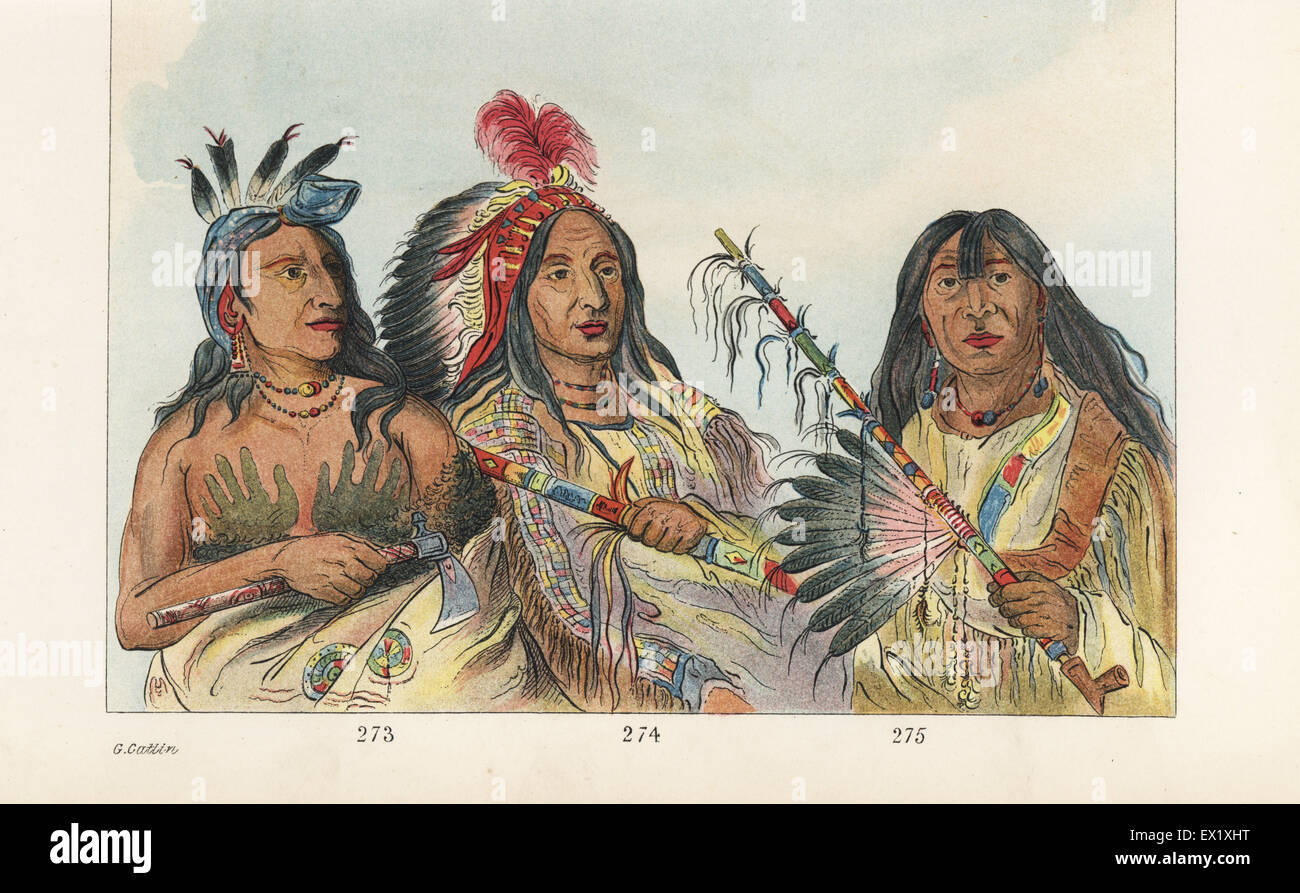 Sioux warriors: Mah-to-tchee-ga, Little Bear, chief of the Onc-pa-pa Band 273, killed in a duel by Shon-ka, the - Stock Image