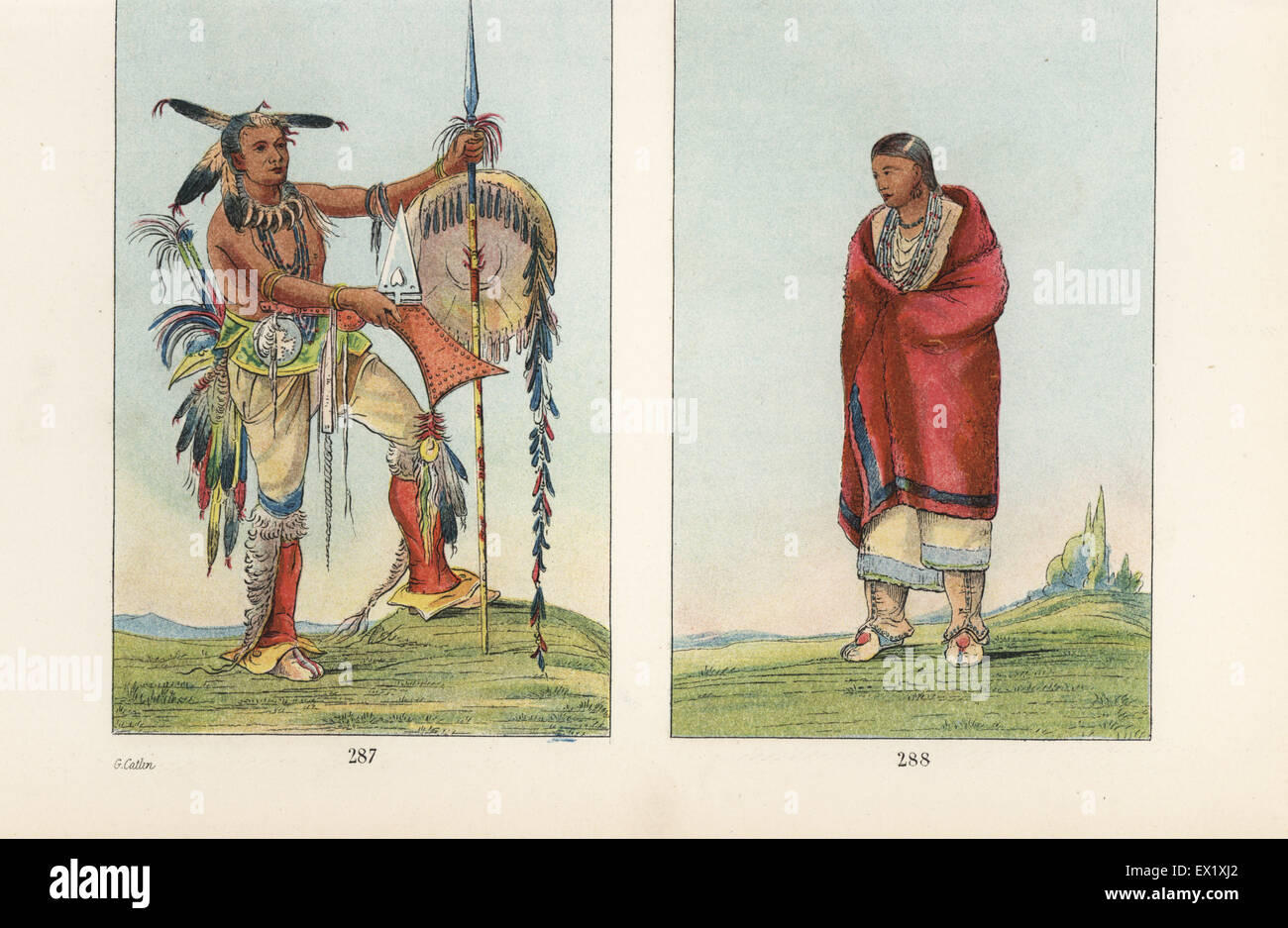Meskwaki warrior Ah-mou-a, Whale, 287 with shield, staff, war club, scalp-locks, bear teeth necklace and moccasins, - Stock Image