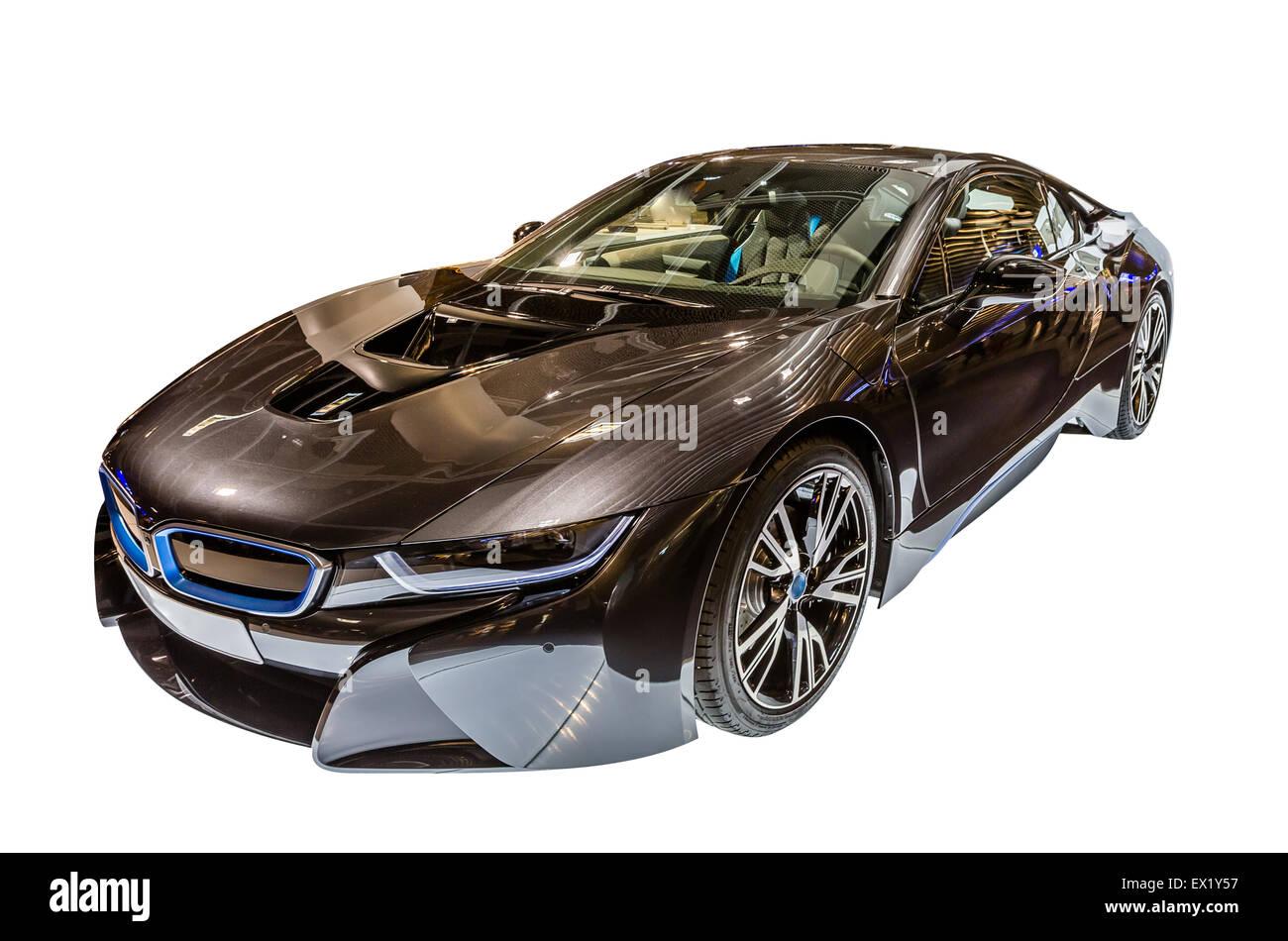 A BMW i8 hybrid car isolated on white background. - Stock Image