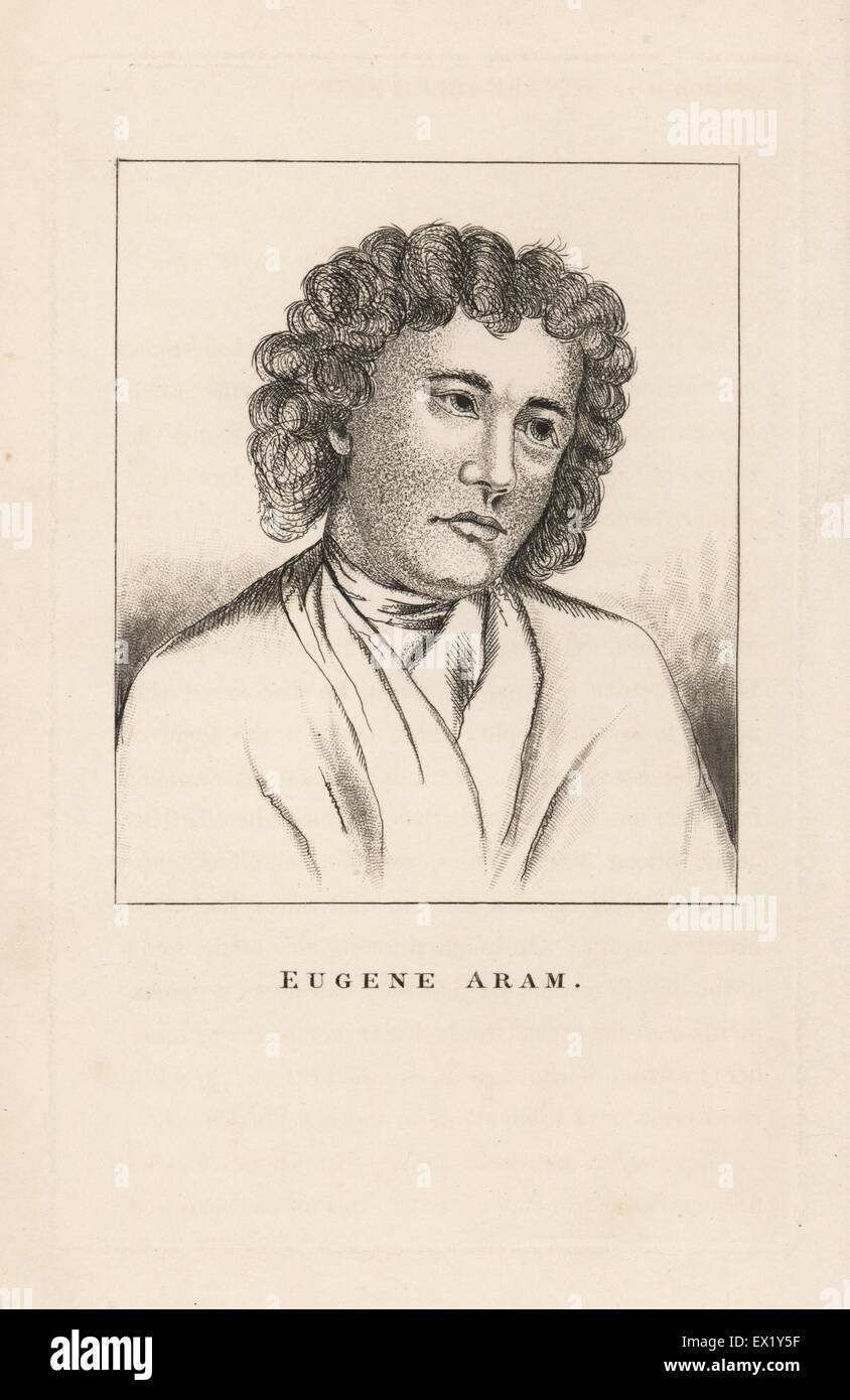 Eugene Aram, executed for murder August 1759. Copperplate engraving from John Caulfield's Portraits, Memoirs - Stock Image