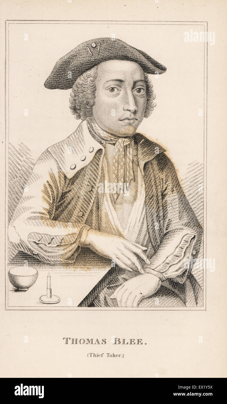 Thomas Blee, thief taker. Copperplate engraving from John Caulfield's Portraits, Memoirs and Characters of Remarkable - Stock Image