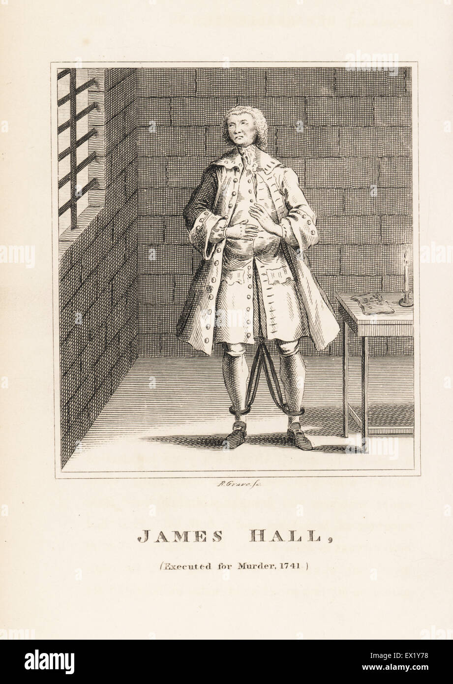 James Hall, executed for the murder of his employer in 1741. In shackles in his prison cell. Copperplate engraving - Stock Image
