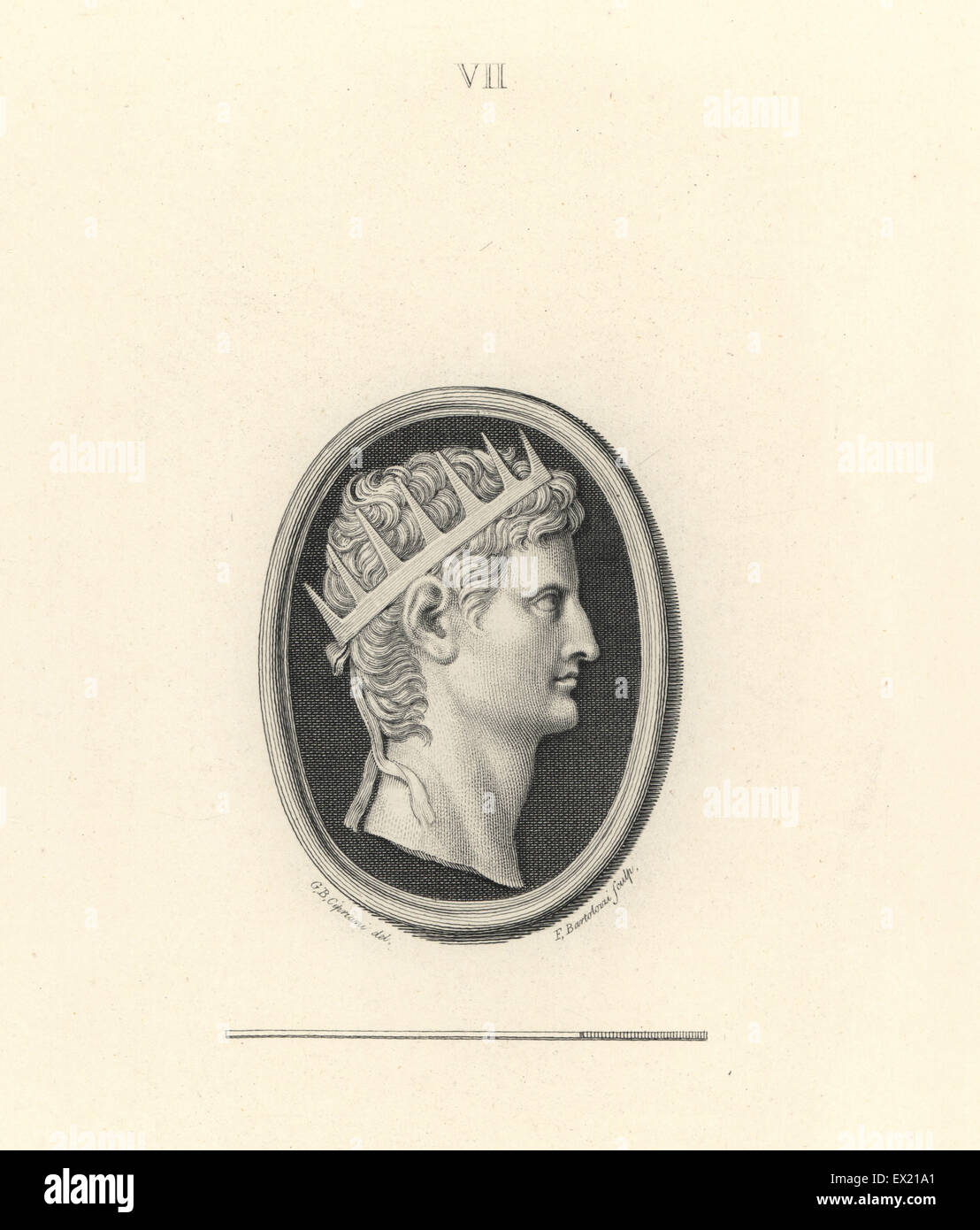 Augustus, founder of the Roman Empire, with the royal crown. Copperplate engraving by Francesco Bartolozzi after - Stock Image