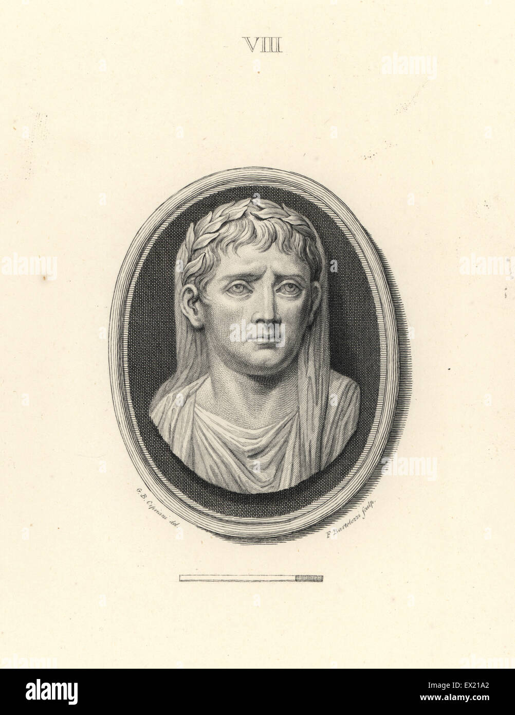 Augustus, founder of the Roman Empire, with laurel wreath. Copperplate engraving by Francesco Bartolozzi after a - Stock Image