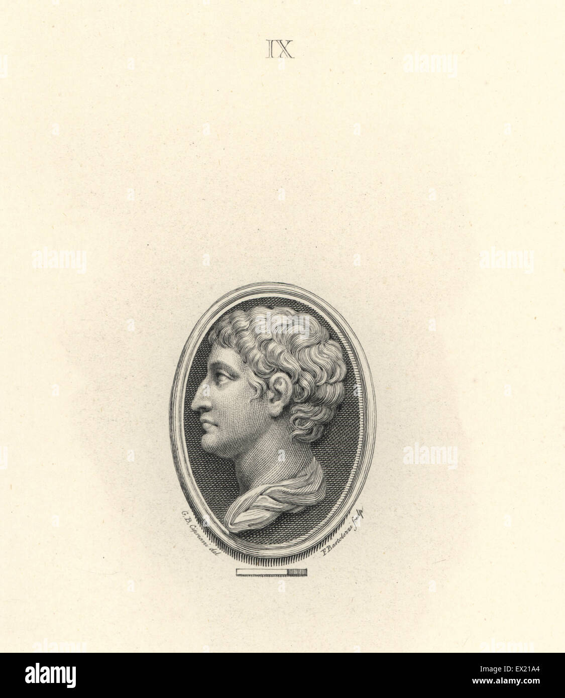 Marcus Claudius Marcellus, nephew of the Roman Emperor Augustus. Copperplate engraving by Francesco Bartolozzi after - Stock Image