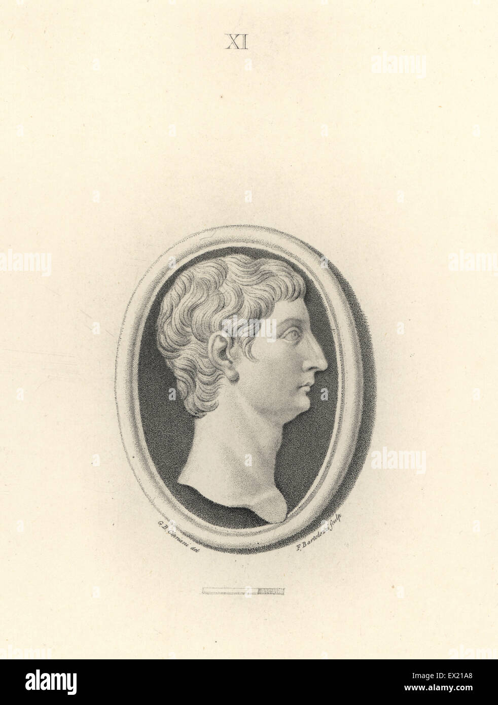 Head of Roman Emperor Tiberius. Copperplate engraving by Francesco Bartolozzi after a design by Giovanni Battista - Stock Image