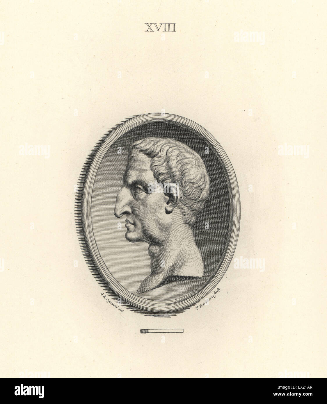 Head of Nerva, Roman Emperor. Copperplate engraving by Francesco Bartolozzi after a design by Giovanni Battista - Stock Image