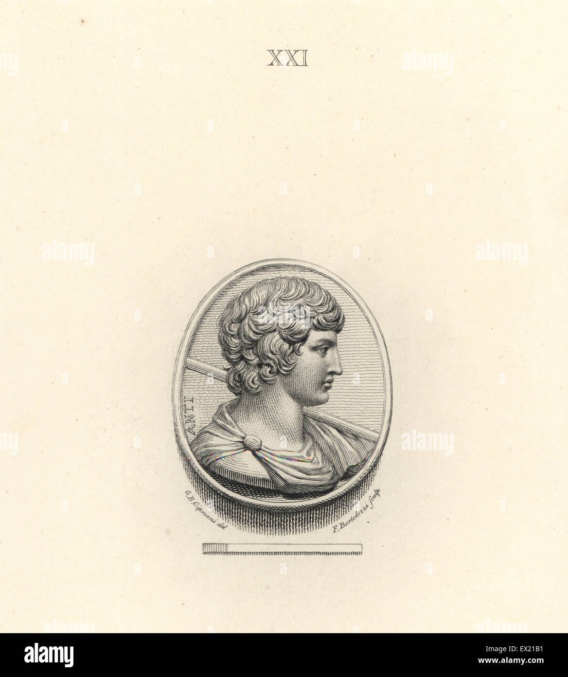 Antinous, Bithynian Greek youth and lover of the Roman emperor Hadrian. Copperplate engraving by Francesco Bartolozzi - Stock Image