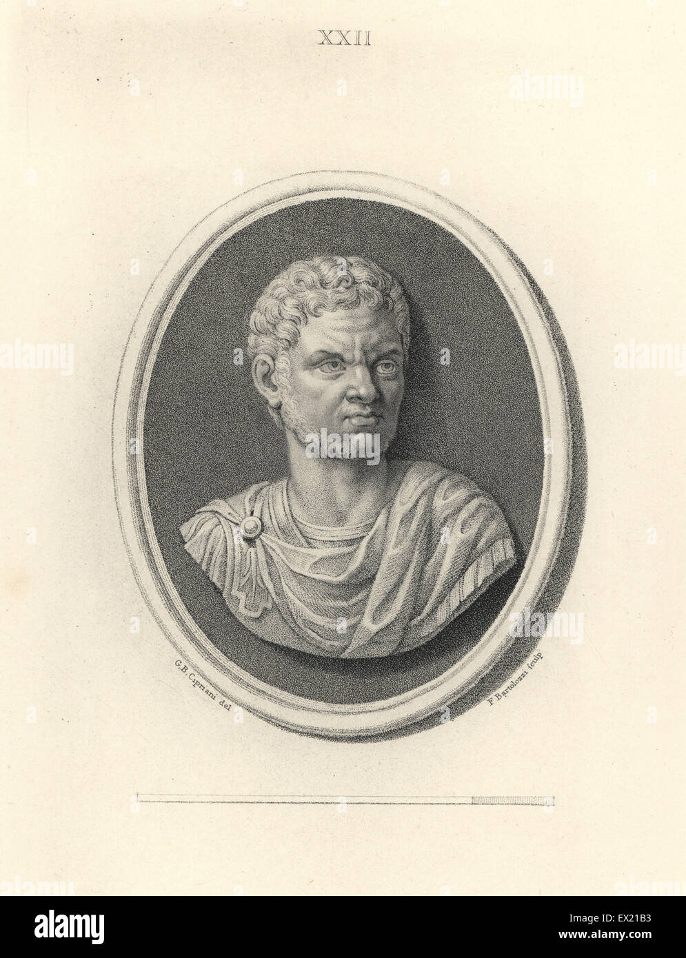 Caracalla or Roman Emperor Antoninous. Copperplate engraving by Francesco Bartolozzi after a design by Giovanni - Stock Image