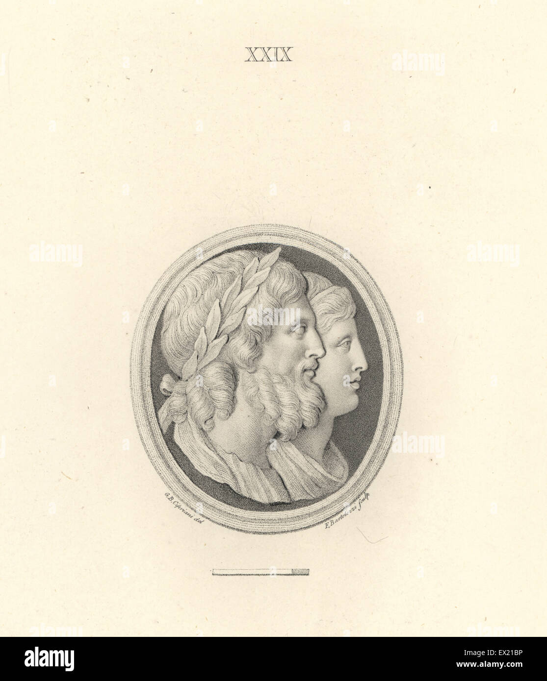 Jupiter and Juno, king and queen of the Roman gods. Copperplate engraving by Francesco Bartolozzi after a design Stock Photo