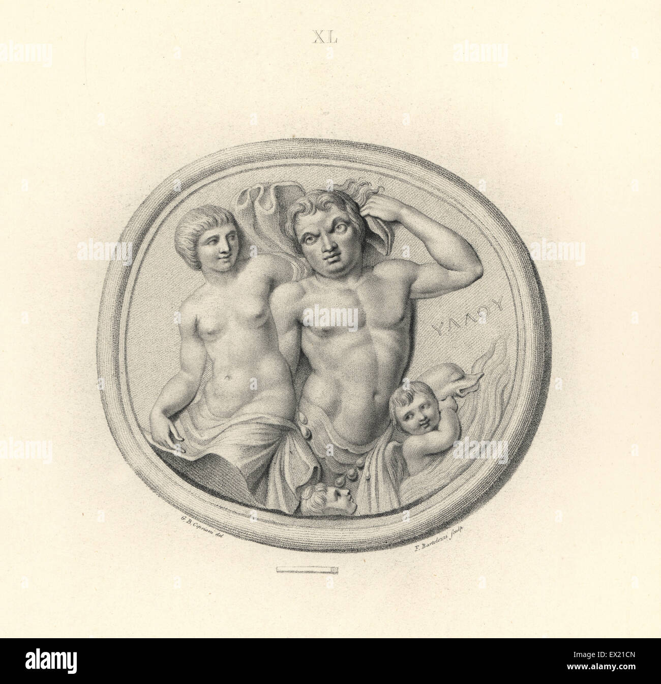Classical sea gods: Nerites and a Nereid, sea nymph, dolphin, boys. Copperplate engraving by Francesco Bartolozzi - Stock Image