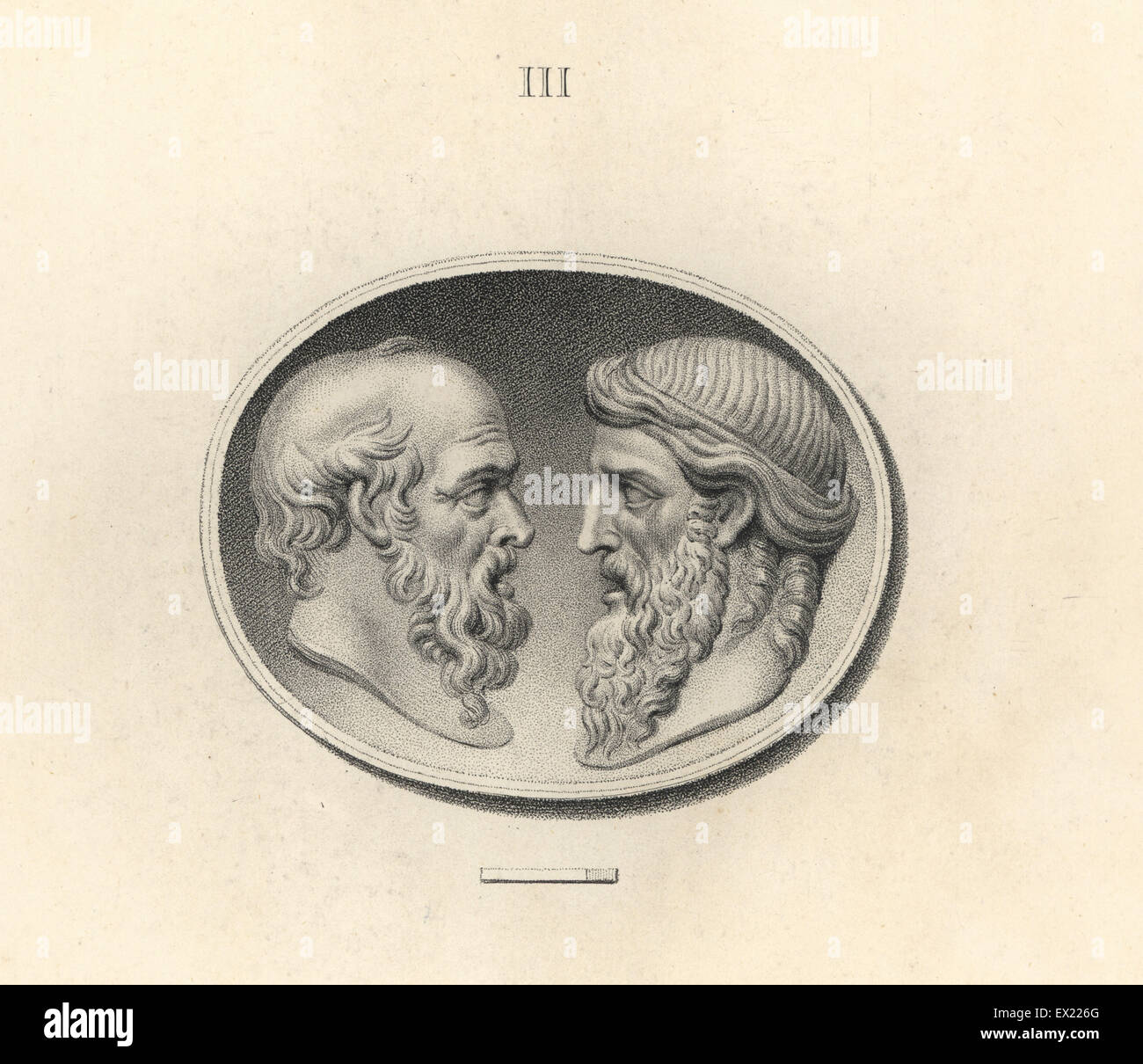 Heads of the Greek philosophers Socrates and Plato. Copperplate engraving by Francesco Bartolozzi from 108 Plates - Stock Image