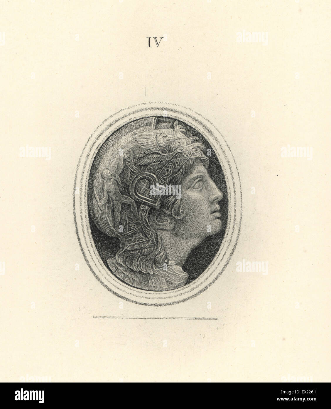Head of Alexander the Great, King of Macedon, in helmet decorated with warriors and chimaera. Copperplate engraving - Stock Image