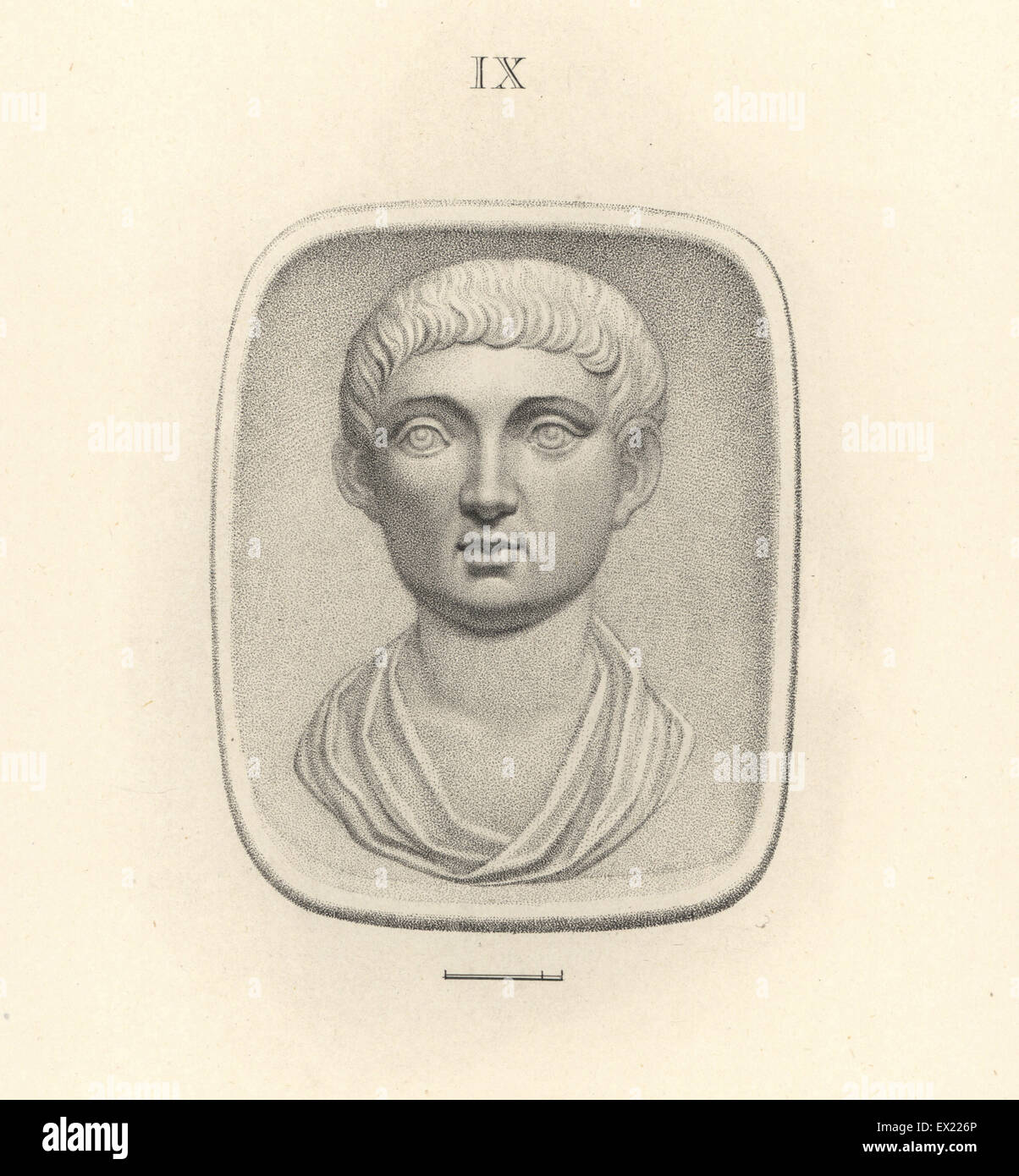 Head of unknown man, Ancient Greece or Rome. Copperplate engraving by Francesco Bartolozzi from 108 Plates of Antique - Stock Image