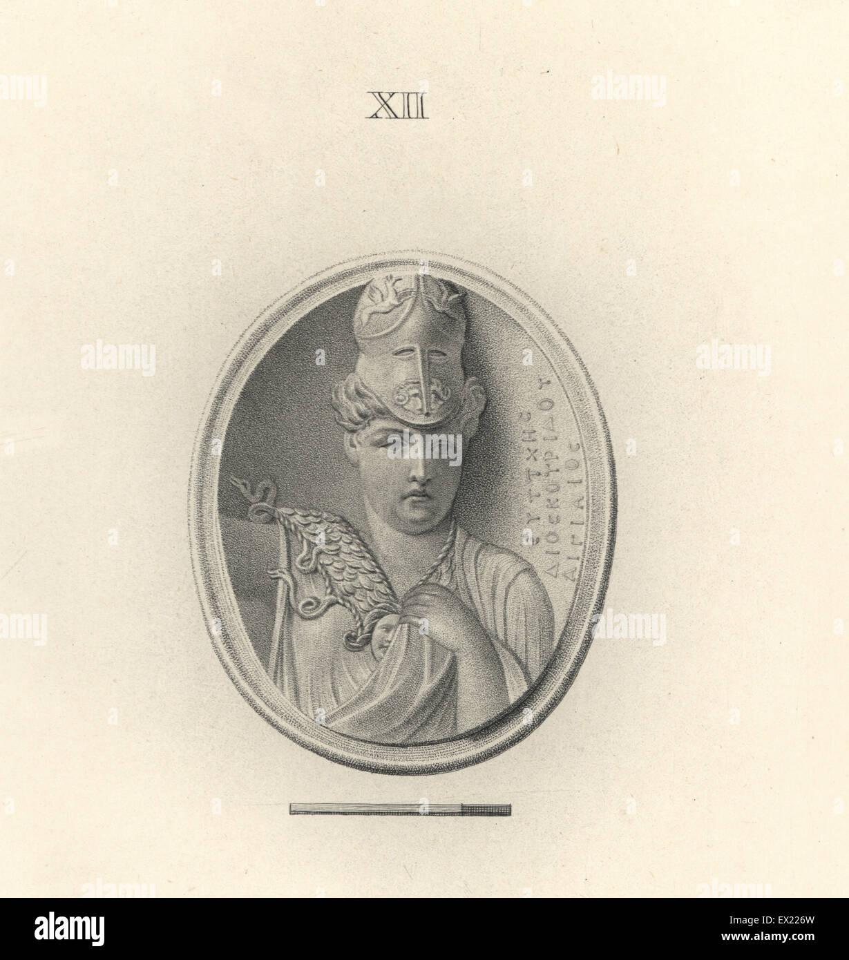Minerva, Roman goddess of wisdom, in Corinthian helmet, the work of Eutychis, the Aegean. Copperplate engraving - Stock Image